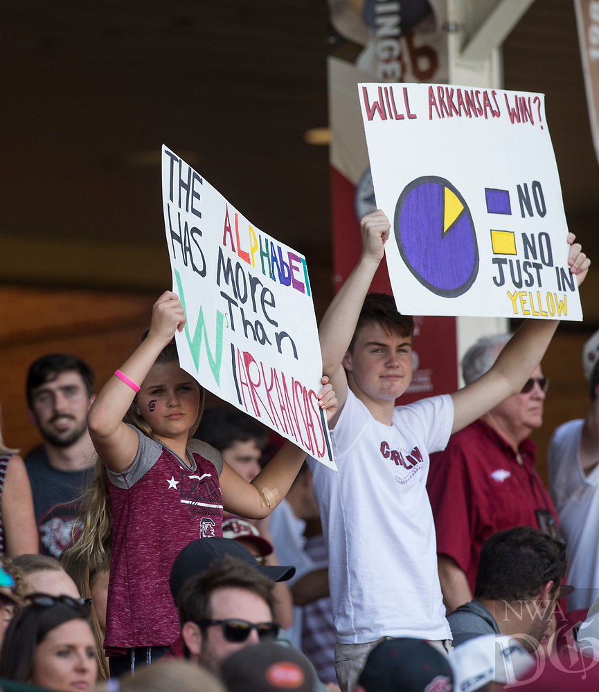 NWA Democrat-Gazette/BEN GOFF @NWABENGOFF<br /> South Carolina fans Saturday, June 9, 2018, during game one of the NCAA Super Regional at Baum Stadium in Fayetteville.