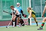 GER - Mannheim, Germany, May 24: During the U16 Girls match between Australia (green) and Germany (white) during the international witsun tournament on May 24, 2015 at Mannheimer HC in Mannheim, Germany. Final score 0-6 (0-3). (Photo by Dirk Markgraf / www.265-images.com) *** Local caption *** Caroline Meinshausen #1 of Germany, Marisa Martin Pelegrina #3 of Germany, Annabelle Scutt #14 of Australia