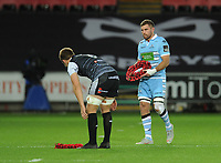 Glasgow Warriors' Callum Gibbins and Ospreys' Olly Cracknell lay wreathes before kick-off<br /> <br /> Photographer Kevin Barnes/CameraSport<br /> <br /> Guinness Pro14 Round 8 - Ospreys v Glasgow Warriors - Friday 2nd November 2018 - Liberty Stadium - Swansea<br /> <br /> World Copyright &copy; 2018 CameraSport. All rights reserved. 43 Linden Ave. Countesthorpe. Leicester. England. LE8 5PG - Tel: +44 (0) 116 277 4147 - admin@camerasport.com - www.camerasport.com