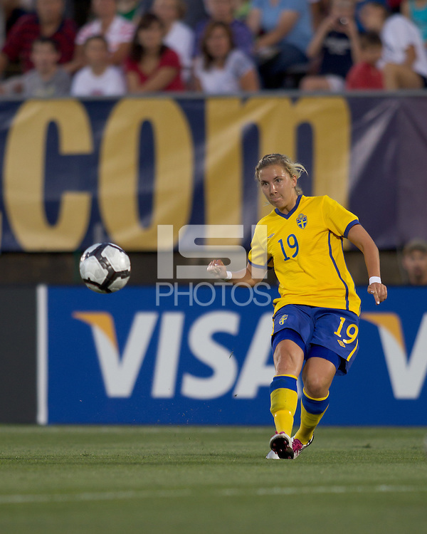 Sweden midfielder Louise Fors (19). The US Women's national team beat Sweden, 3-0, at Rentschler Field on July 17, 2010.
