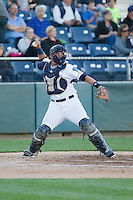 Johan Quevedo (16) of the Everett Aquasox throws down to second base during a game against the Vancouver Canadian at Everett Memorial Stadium in Everett, Washington on July 27, 2015.  Everett defeated Vancouver 6-0. (Ronnie Allen/Four Seam Images)