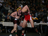 Peter Capone (IV) and Rob Morey (II) square off in the NY State Division One finals at the 152 weight class during the NY State Wrestling Championship finals at Blue Cross Arena on March 9, 2009 in Rochester, New York.  (Copyright Mike Janes Photography)
