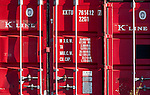 """Red Shipping Containers - """"K"""" Line shipping containers at North Fremantle container port, Western Australia"""