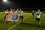 Victorious home players display a flag at the Paisley2021 Stadium after Scottish Championship side St Mirren played Welsh champions The New Saints in the semi-final of the Scottish Challenge Cup for the right to meet Dundee United in the final. The competition was expanded for the 2016-17 season to include four clubs from Wales and Northern Ireland as well as Scottish Premier under-20 teams. Despite trailing at half-time, St Mirren won the match 4-1 watched by a crowd of 2044, including 75 away fans.