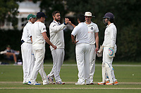 Wanstead players celebrate taking the wicket of Jonathan Walford during Brentwood CC vs Wanstead and Snaresbrook CC, Essex Cricket League Cricket at The Old County Ground on 12th September 2020