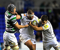 Reading, England. .Tony Buckley of Sale Sharks charges forward during the LV= Cup match between London Irish and Sale Sharks at Madejski Stadium on November 11, 2012 in Reading, England.
