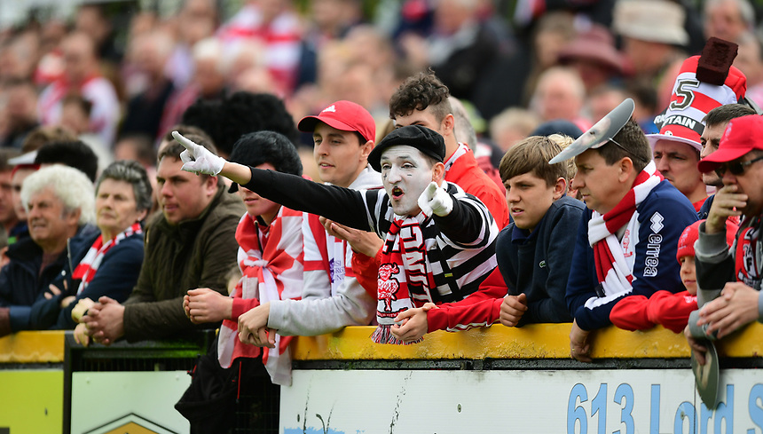 Lincoln City fans in fancy dress during the first half<br /> <br /> Photographer Chris Vaughan/CameraSport<br /> <br /> Vanarama National League - Southport v Lincoln City - Saturday 29th April 2017 - Merseyrail Community Stadium - Southport<br /> <br /> World Copyright &copy; 2017 CameraSport. All rights reserved. 43 Linden Ave. Countesthorpe. Leicester. England. LE8 5PG - Tel: +44 (0) 116 277 4147 - admin@camerasport.com - www.camerasport.com