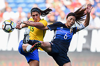 Seattle, WA - Thursday July 27, 2017: Andreia Rosa, Rumi Utsugi during a 2017 Tournament of Nations match between the women's national teams of the Japan (JAP) and Brazil (BRA) at CenturyLink Field.