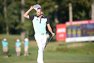 Gainesville, VA - August 2, 2015: Tournament Champion Troy Merritt celebrates after hitting the winning putt on 18 at the Robert Trent Jones Golf Club in Gainesville, VA. August 2, 2015.  (Photo by Philip Peters/Media Images International)