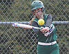 Samantha Yannetti #20 of Seaford turns on an inside pitch during the top of the second inning of a Nassau County varsity softball game against Plainedge at Schwarting Elementary School in Massapequa on Friday, April 6, 2018. Seaford won by a score of 9-2.