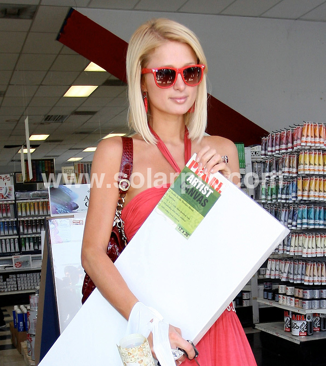 **ALL ROUND PICTURES FROM SOLARPIX.COM**.**NO SYNDICATION RIGHTS FOR USA**.**WORLDWIDE SYNDICATION RIGHTS**.Paris Hilton without Benji Madden buying art supplies at Pearl Art Supplies.in West Hollywood, CA USA.JOB REF:  6482       RYA        DATE:21.05.08.**MUST CREDIT SOLARPIX.COM OR DOUBLE FEE WILL BE CHARGED* *UNDER NO CIRCUMSTANCES IS THIS IMAGE TO BE REPRODUCED FOR ANY ONLINE EDITION WITHOUT PRIOR PERMISSION*