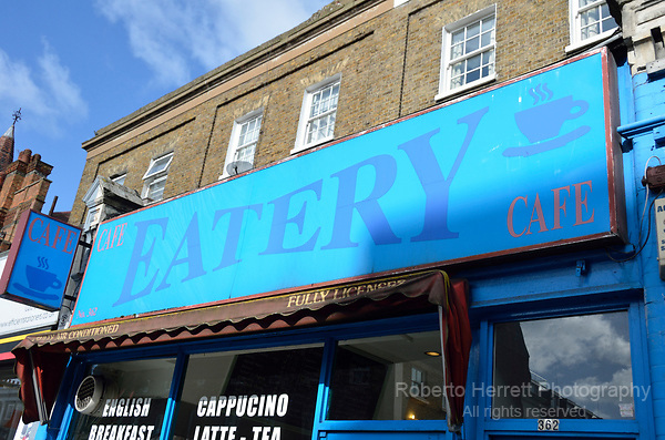 The Eatery Cafe in King Street, Hammersmith, London, UK.