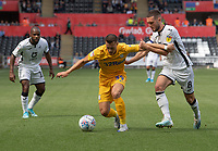Swansea City's Matt Grimes (right)  battles with Preston North End's Billy Bodin (left)<br /> <br /> Photographer David Horton/CameraSport<br /> <br /> The EFL Sky Bet Championship - Swansea City v Preston North End - Saturday 17th August 2019 - Liberty Stadium - Swansea<br /> <br /> World Copyright © 2019 CameraSport. All rights reserved. 43 Linden Ave. Countesthorpe. Leicester. England. LE8 5PG - Tel: +44 (0) 116 277 4147 - admin@camerasport.com - www.camerasport.com