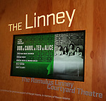 """Theatre Marquee for The New Group production of """"Bob & Carol & Ted & Alice"""" starring Joel Perez, Jennifer Damiano, Ana Nogueira and Michael Zegen at the Linney Theatre on January 26, 2020 in New York City."""