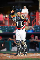 Erie SeaWolves catcher Austin Green (7) during a game against the Richmond Flying Squirrels on May 27, 2016 at Jerry Uht Park in Erie, Pennsylvania.  Richmond defeated Erie 7-6.  (Mike Janes/Four Seam Images)