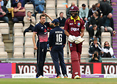 29th September 2017, Ageas Bowl, Southampton, England; One Day International Series, England versus West Indies; Jake Ball of England receives instruction from England Captain Eoin Morgan before his over