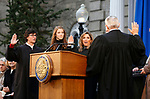 Nevada Supreme Court Justices, Lidia Stiglich, left, Abbi Silver, center, and Elissa Cadish, not seen, take the oath of office with Supreme Court Chief Justice James Hardesty  during the inauguration at the Capitol, in Carson City, Nev., on Monday, Jan. 7, 2019. (Cathleen Allison/Las Vegas Review-Journal)