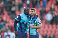 Adebayo Akinfenwa of Wycombe Wanderers & Matt Bloomfield of Wycombe Wanderers after the Sky Bet League 2 match between Leyton Orient and Wycombe Wanderers at the Matchroom Stadium, London, England on 1 April 2017. Photo by Andy Rowland.