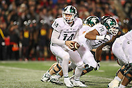 College Park, MD - October 22, 2016: Michigan State Spartans quarterback Brian Lewerke (14) looks to hand off the ball during game between Michigan St. and Maryland at  Capital One Field at Maryland Stadium in College Park, MD.  (Photo by Elliott Brown/Media Images International)