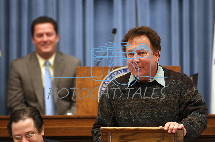 Former state archivist Guy Rocha addresses the Nevada Assembly during the floor session held in the old Assembly Chamber at the Capitol in Carson City, Nev. on Thursday, March 10, 2011. Speaker John Oceguera, D-Las Vegas, is at rear. .Photo by Cathleen Allison