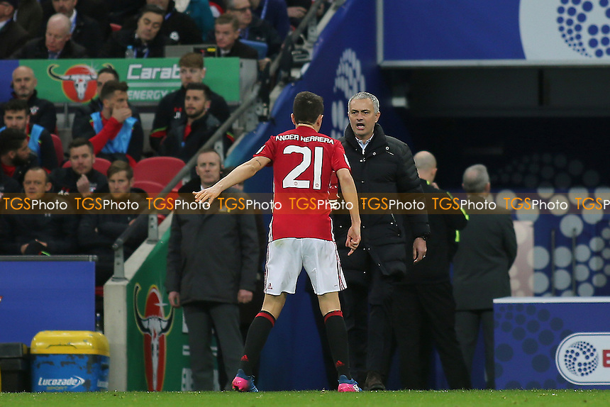 Manchester United Manager, Jose Mourinho, has words with Ander Herrera during Manchester United vs Southampton, EFL Cup Final Football at Wembley Stadium on 26th February 2017
