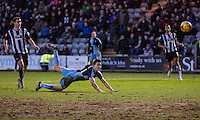 Luke O'Nien of Wycombe Wanderers heads at goal during the Sky Bet League 2 match between Plymouth Argyle and Wycombe Wanderers at Home Park, Plymouth, England on 30 January 2016. Photo by Mark  Hawkins / PRiME Media Images.