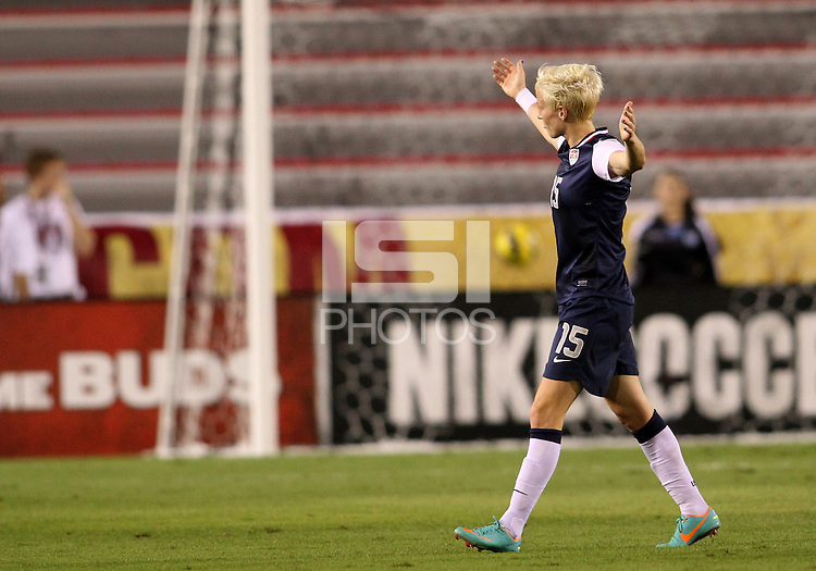 BOCA RATON, FL - DECEMBER 15, 2012: Megan Rapinoe (15) of the USA WNT after scoring against China WNT during an international friendly match at FAU Stadium, in Boca Raton, Florida, on Saturday, December 15, 2012. USA won 4-1.