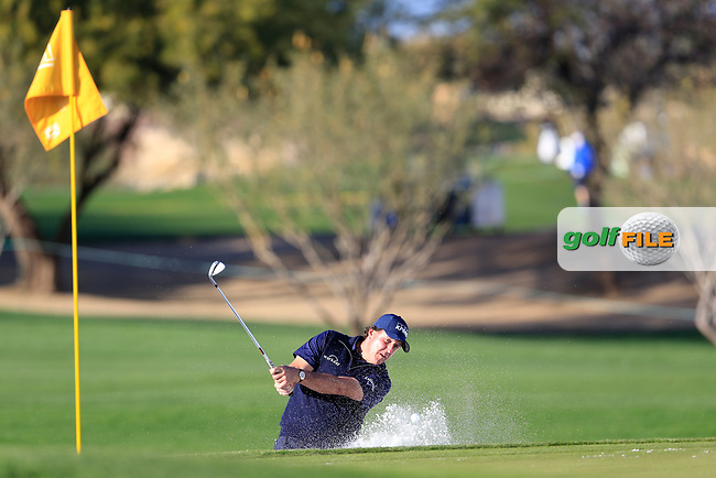 Phil Mickelson (USA) in the 15th green side bunker during the 1st round of the Waste Management Phoenix Open, TPC Scottsdale, Scottsdale, Arisona, USA. 31/01/2019.<br /> Picture Fran Caffrey / Golffile.ie<br /> <br /> All photo usage must carry mandatory copyright credit (&copy; Golffile | Fran Caffrey)