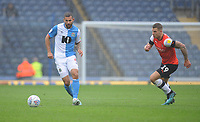 Blackburn Rovers' Bradley Johnson under pressure from Luton Town's James Collins<br /> <br /> Photographer Kevin Barnes/CameraSport<br /> <br /> The EFL Sky Bet Championship - Blackburn Rovers v Luton Town - Saturday 28th September 2019 - Ewood Park - Blackburn<br /> <br /> World Copyright © 2019 CameraSport. All rights reserved. 43 Linden Ave. Countesthorpe. Leicester. England. LE8 5PG - Tel: +44 (0) 116 277 4147 - admin@camerasport.com - www.camerasport.com