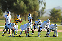 Sept. 16, 2009; Casa Grande, AZ, USA; Las Vegas Locomotives quarterback (7) J.P. Losman takes the snap during training camp at the Casa Grande Training Facility & Performance Institute. Mandatory Credit: Mark J. Rebilas-