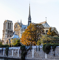 Paris, France. The Notre Dame cathedral at sunset, one of the largest churches in the world. Stirched panorama.