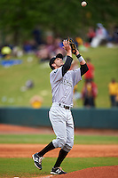 Jackson Generals second baseman Zach Shank (21) catches a pop up during a game against the Montgomery Biscuits on April 29, 2015 at Riverwalk Stadium in Montgomery, Alabama.  Jackson defeated Montgomery 4-3.  (Mike Janes/Four Seam Images)