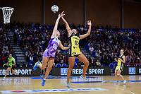 Pulse' Aliyah Dunn and Stars' Storm Purvis in action during the ANZ Premiership - Pulse v Stars at Te Rauparaha Arena, Porirua, New Zealand on Wednesday 3 April 2019. <br /> Photo by Masanori Udagawa. <br /> www.photowellington.photoshelter.com