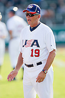 USA 18u National Team pitching coach Jim Lawler prior to the game against the USA Baseball Collegiate National Team at the USA Baseball National Training Center on July 2, 2011 in Cary, North Carolina.  The College National Team defeated the 18u team 8-1.  Brian Westerholt / Four Seam Images