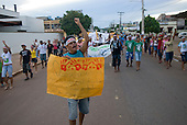 Altamira, Brazil. Protest march by young rural and towns people about the proposed Belo Monte hydroeletric dam on the Xingu river and its tributaries.