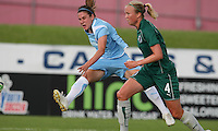 Heather O'Reilly of Sky Blue shoots past Sara Larsson of Athletica.  Athletica prevailed, 2-1.St. Louis Athletica defeated Sky Blue FC 2-1 at Yurcak Field at Rutgers University in Piscataway, NJ on June 28, 2009.
