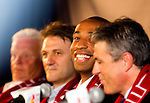 Hans Backe (Red Bull coach), Dietmar Beiersdorfer (Head of Red Bull Global Soccer),  Thierry Henry, Erik Soler (Red Bulls General manager). .Thierry Henry press conference at Red Bull Arena, Harrison, New Jersey, 07152010