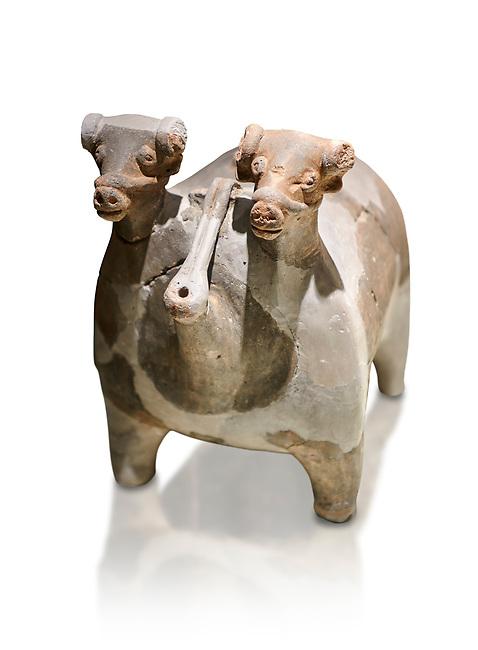 Bronze Age Anatolian terra cotta vtwo headed bull shaped ritual vessel - 19th to 17th century BC - Kültepe Kanesh - Museum of Anatolian Civilisations, Ankara, Turkey. Against a white background.