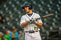 Right fielder Raphael Gladu (28) of the Columbia Fireflies bats in a game against the Augusta GreenJackets on Saturday, April 7, 2018, at Spirit Communications Park in Columbia, South Carolina. Augusta won, 6-2. (Tom Priddy/Four Seam Images)