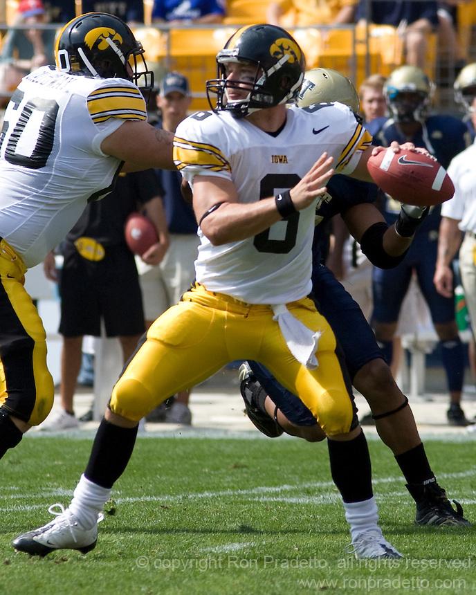 September 20, 2008: Iowa quarterback Jake Christensen. The Pitt Panthers defeated the Iowa Hawkeyes 21-20 on September 20, 2008 at Heinz Field, Pittsburgh, Pennsylvania.