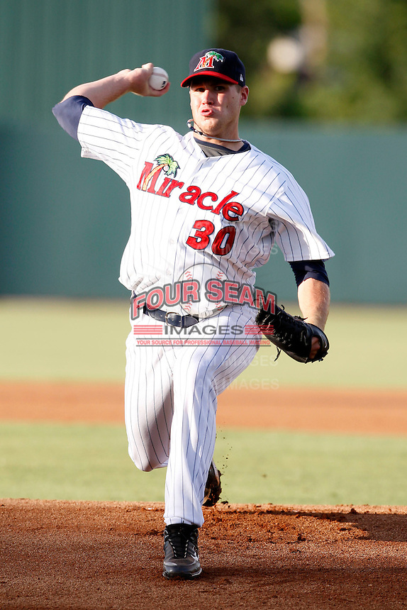July 13, 2009:  Pitcher Michael McCardell of the Fort Myers Miracle during a game at Hammond Stadium in Ft. Myers, FL.  Ft. Myers is the Florida State League High-A affiliate of the Minnesota Twins.  Photo By Mike Janes/Four Seam Images
