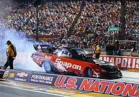 Aug 31, 2018; Clermont, IN, USA; NHRA funny car driver Cruz Pedregon during qualifying for the US Nationals at Lucas Oil Raceway. Mandatory Credit: Mark J. Rebilas-USA TODAY Sports