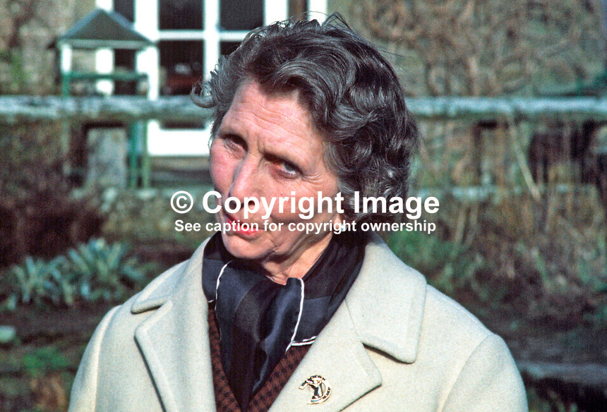 Mrs Irene Calvert, widow of Cecil Calvert, who was director of neurosurgery at the Royal Victoria Hospital, Belfast, who in 1971 became the second wife of Lord Brookeborough, 1st Viscount. 197102000105h.<br />
