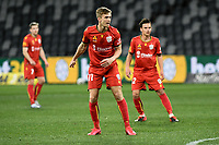 30th July 2020; Bankwest Stadium, Parramatta, New South Wales, Australia; A League Football, Adelaide United versus Perth Glory; Kristian Opseth of Adelaide United watches his free kick sail towards goal