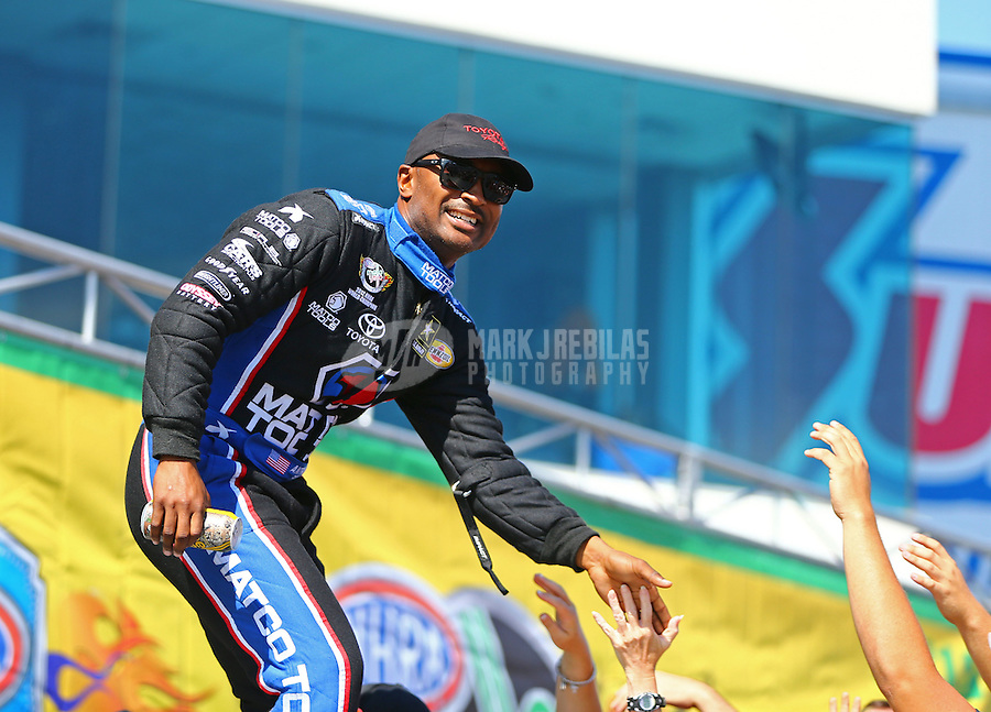 Sep 20, 2015; Concord, NC, USA; NHRA top fuel driver Antron Brown during the Carolina Nationals at zMax Dragway. Mandatory Credit: Mark J. Rebilas-USA TODAY Sports
