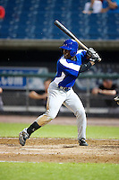 Matthew McPhearson #2 of Riverdale Baptist School in Upper Marlboro, Maryland playing for the Toronto Blue Jays scout team during the East Coast Pro Showcase at Alliance Bank Stadium on August 1, 2012 in Syracuse, New York.  (Mike Janes/Four Seam Images)