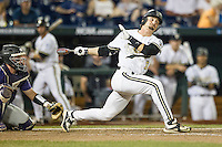 Vanderbilt Commodores outfielder Rhett Wiseman (8) follows through on his swing against the TCU Horned Frogs in Game 12 of the NCAA College World Series on June 19, 2015 at TD Ameritrade Park in Omaha, Nebraska. The Commodores defeated TCU 7-1. (Andrew Woolley/Four Seam Images)
