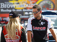 Sep 3, 2016; Clermont, IN, USA; NHRA top fuel driver Leah Pritchett (left) and husband Gary Pritchett during qualifying for the US Nationals at Lucas Oil Raceway. Mandatory Credit: Mark J. Rebilas-USA TODAY Sports