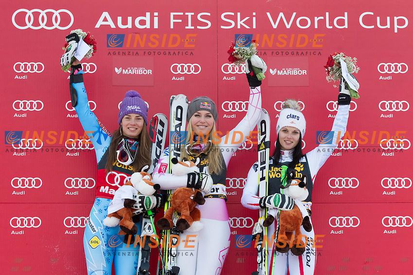 Second placed MAZE Tina of Slovenia, winner VONN Lindsey of USA and third placed FENNINGER Anna of Austria.26.01.2013, Pohorje, Maribor.Sci Slalom Gigante Donne .Foto EXPA/ Sportida/ Vid Ponikvar / Insidefoto.ITALY ONLY
