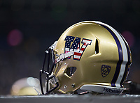 Washington's helmets were adorned with patriotic decals on Salute to Service Night.